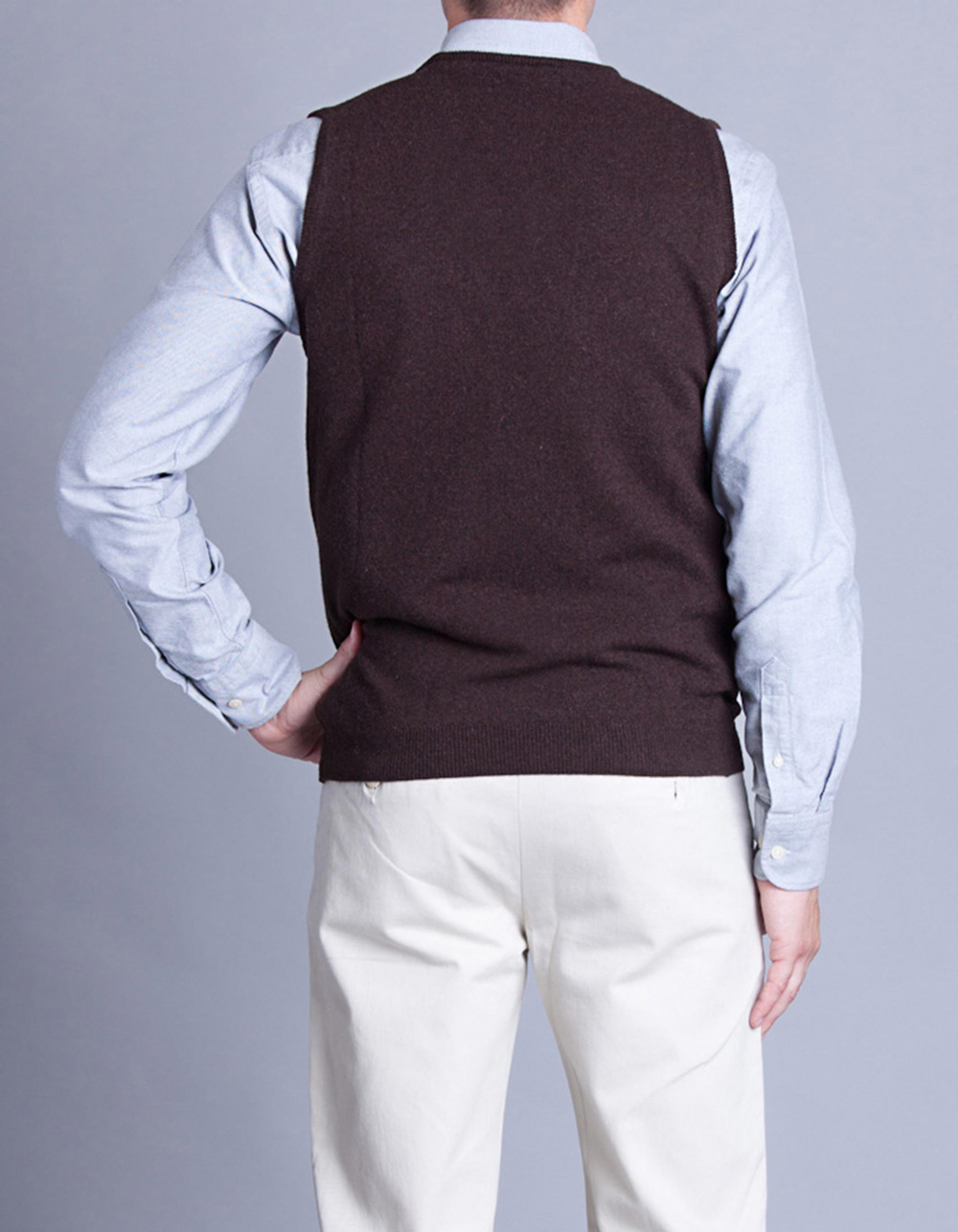 Brown Knitted waistcoat - Backside