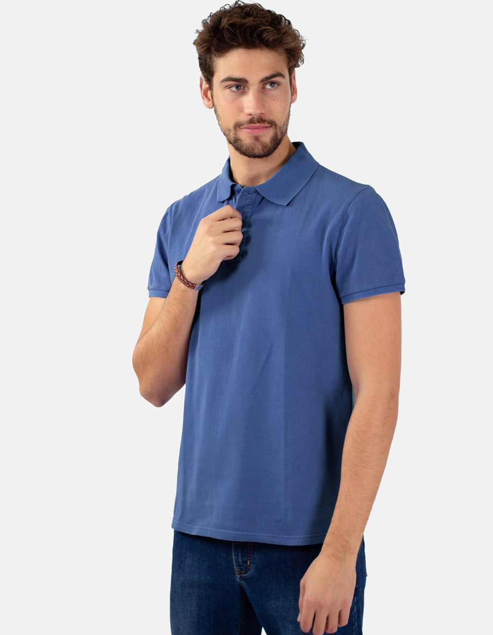 Azure blue basic piqué polo shirt