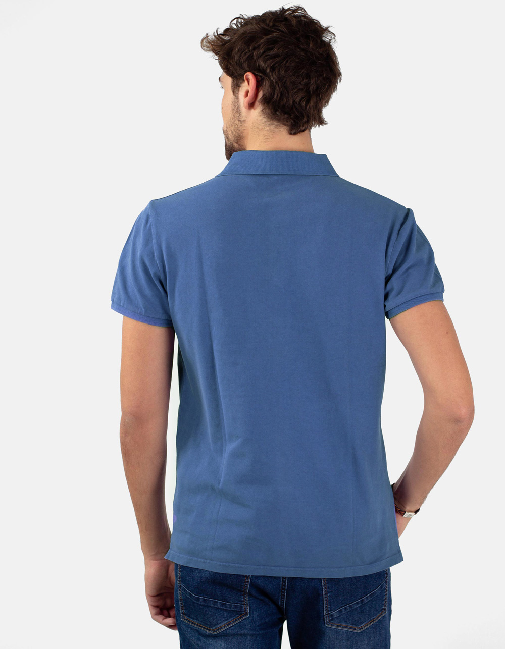 Azure blue basic piqué polo shirt - Backside