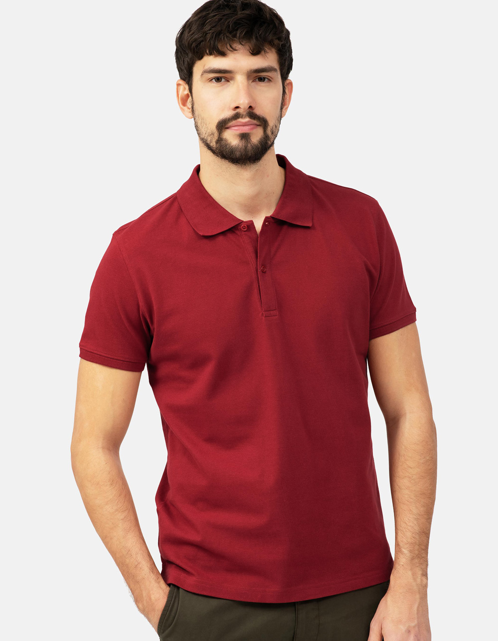 Maroon basic piqué polo shirt
