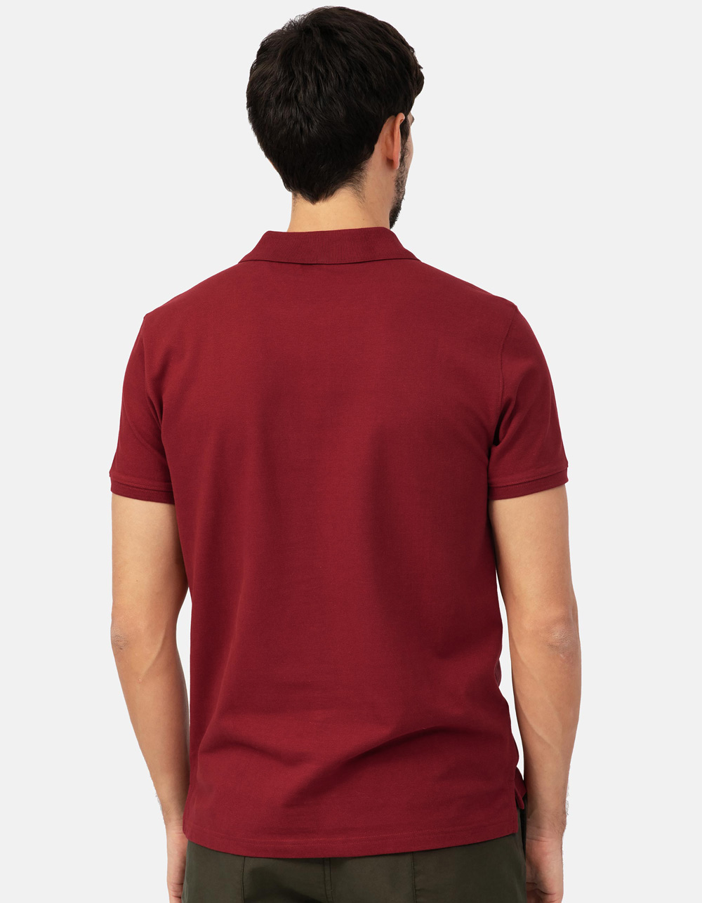 Maroon basic piqué polo shirt - Backside