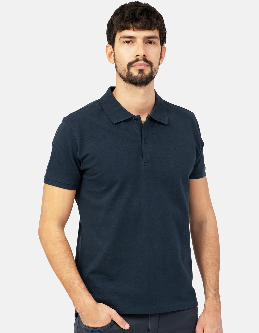 Navy blue basic piqué polo shirt