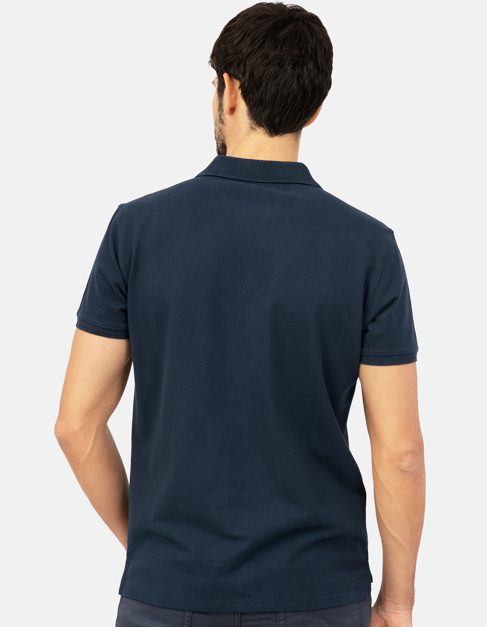 Navy blue basic piqué polo shirt - Backside