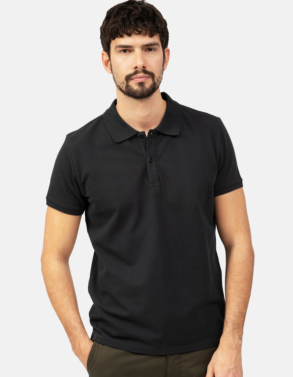 Black basic piqué polo shirt