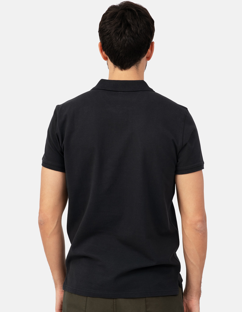 Black basic piqué polo shirt - Backside