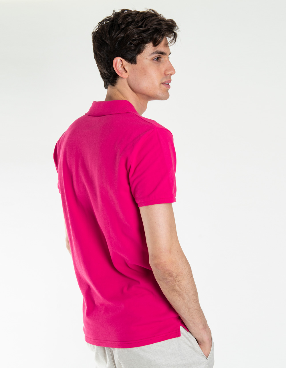 Fuchsia basic piqué polo shirt - Backside