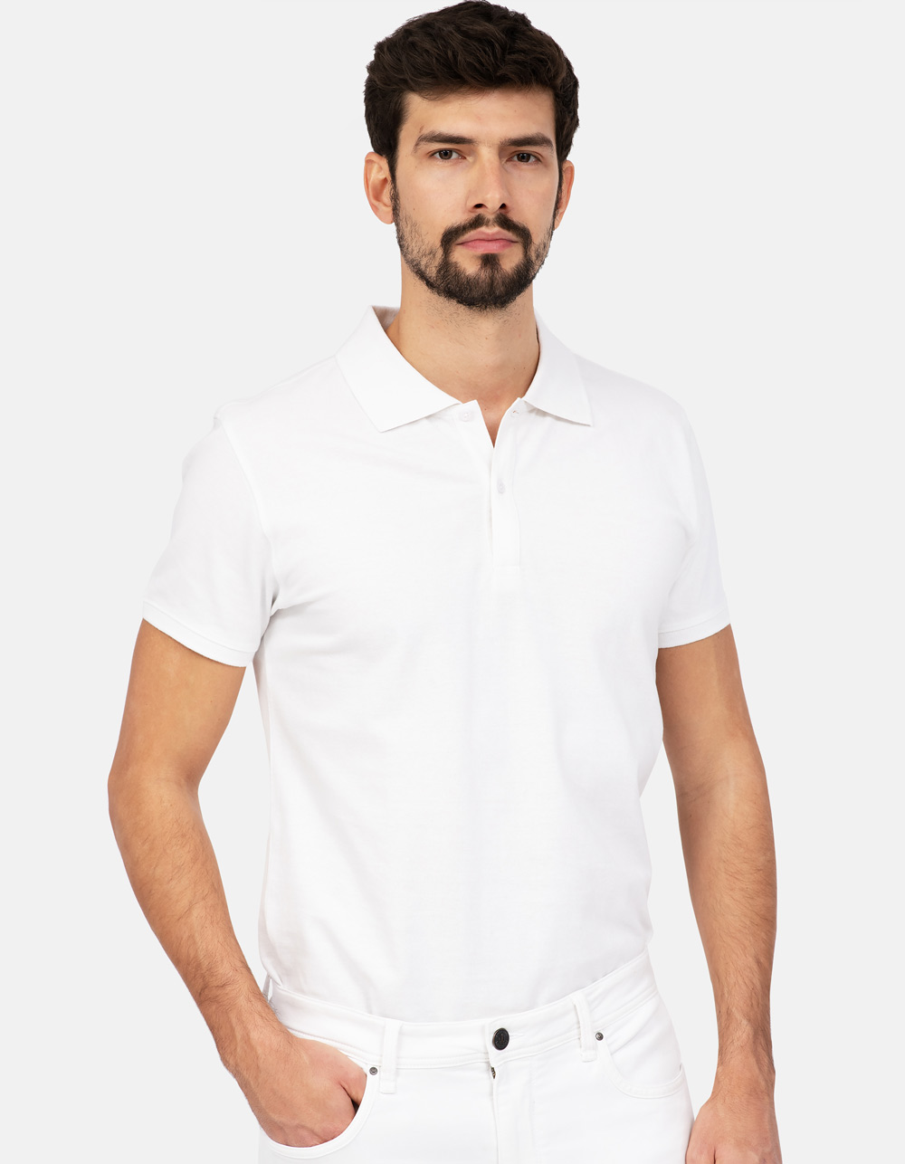 White basic piqué polo shirt
