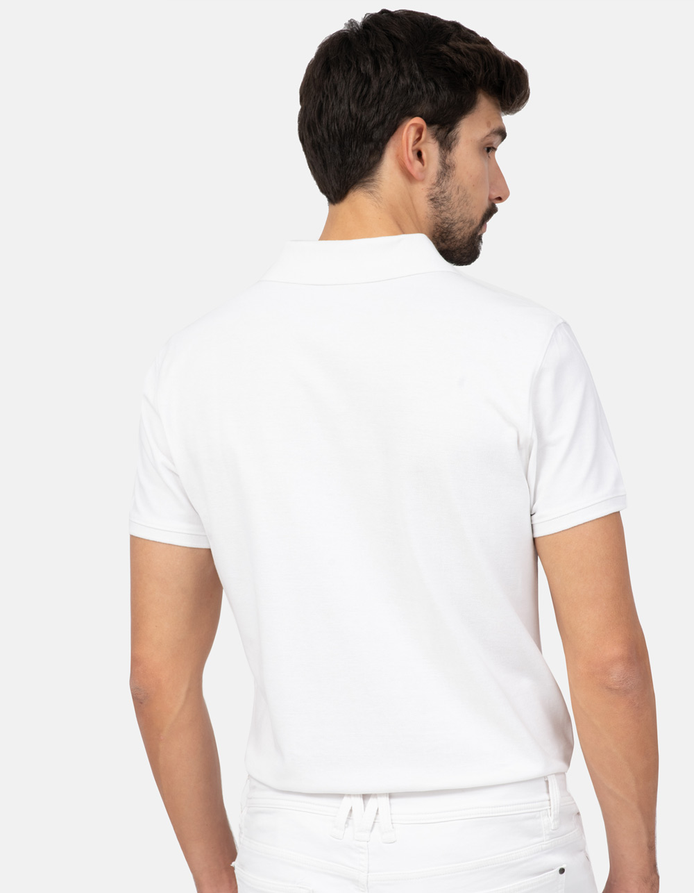 White basic piqué polo shirt - Backside