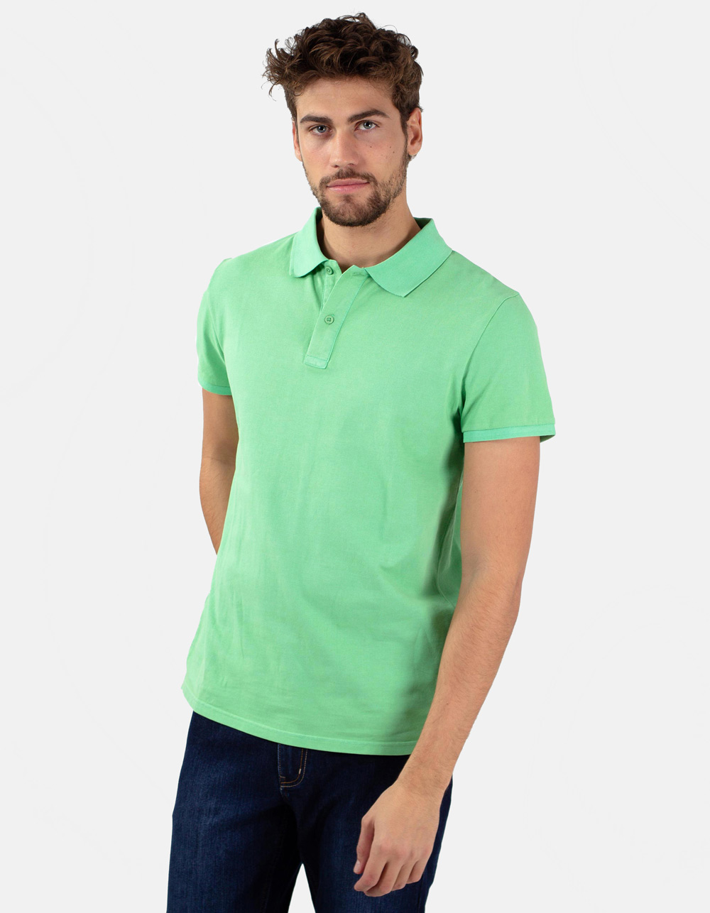 Appel green basic piqué polo shirt