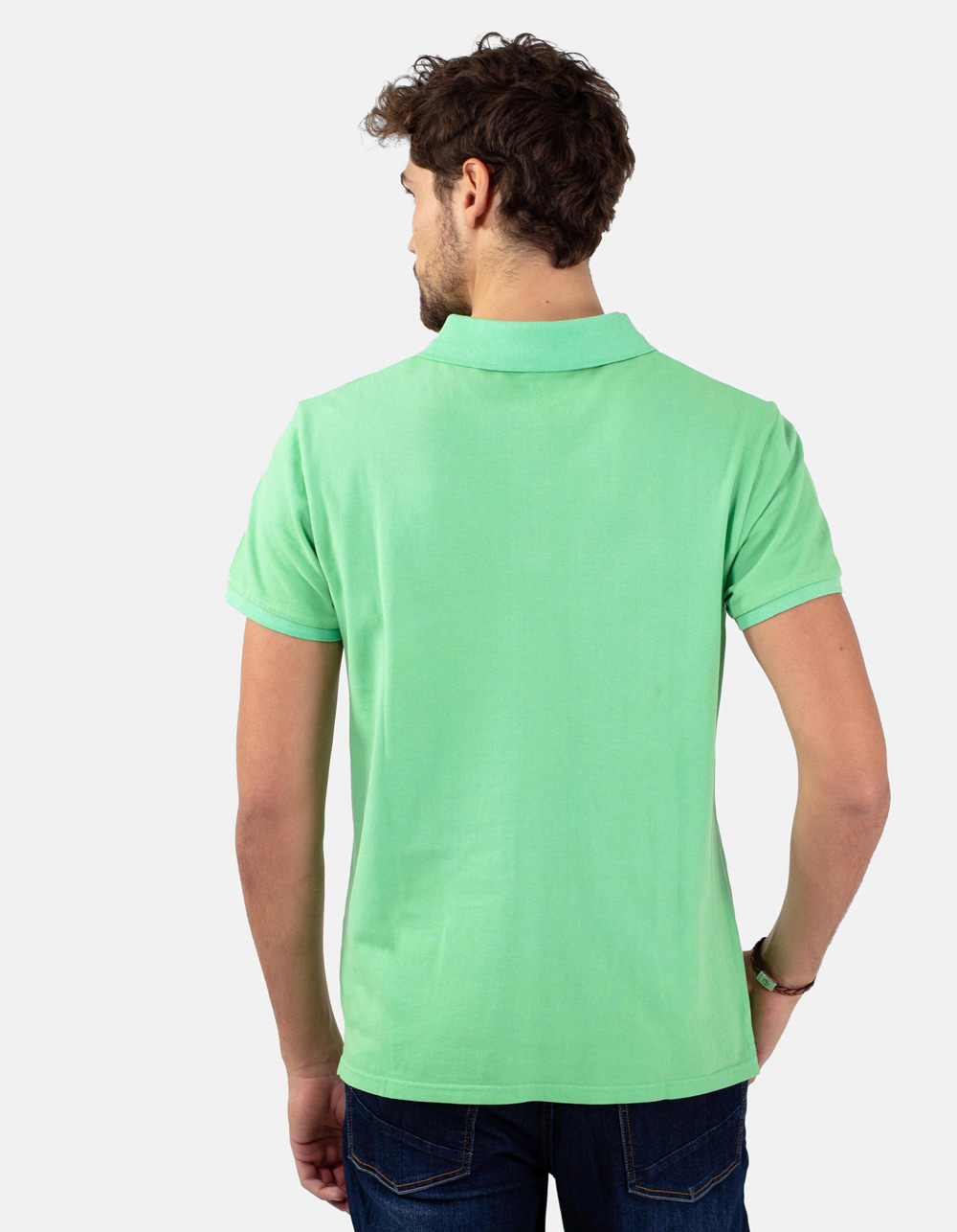 Appel green basic piqué polo shirt - Backside