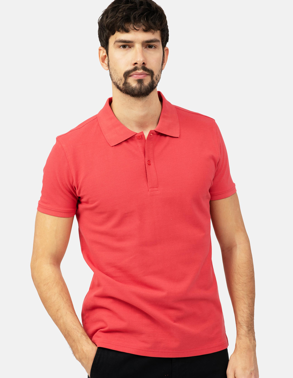 Coral basic piqué polo shirt