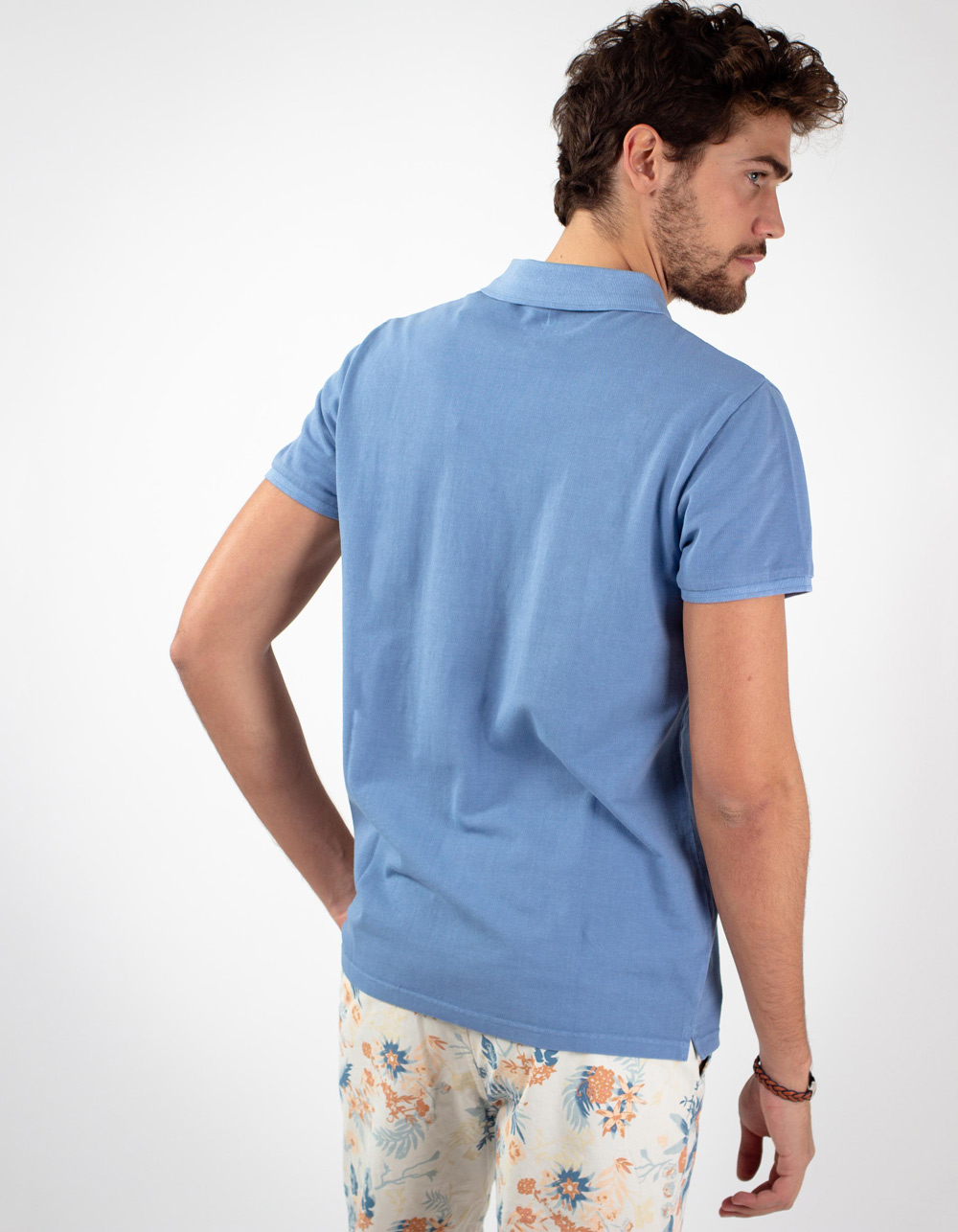 Polo piqué mid blue básico - Backside