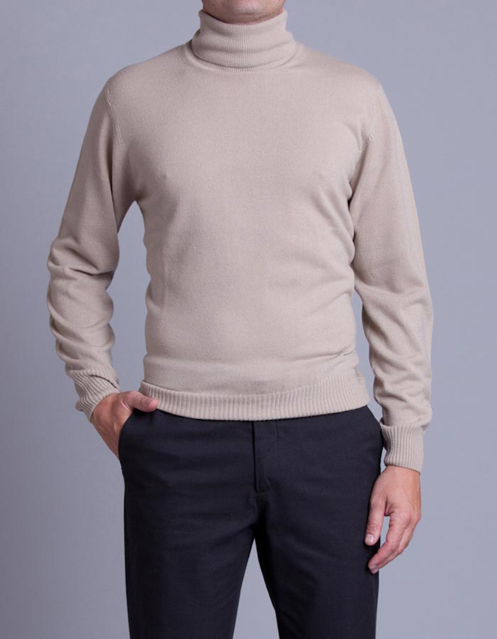 Beige turtleneck jersey