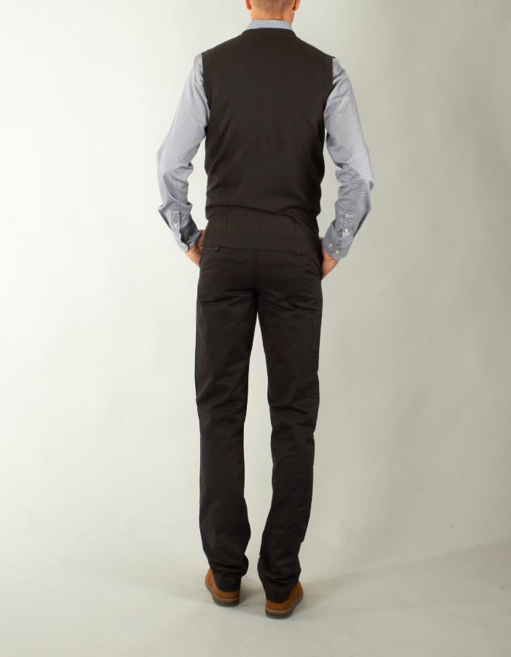 Charcoal grey knitted waistcoat - Backside