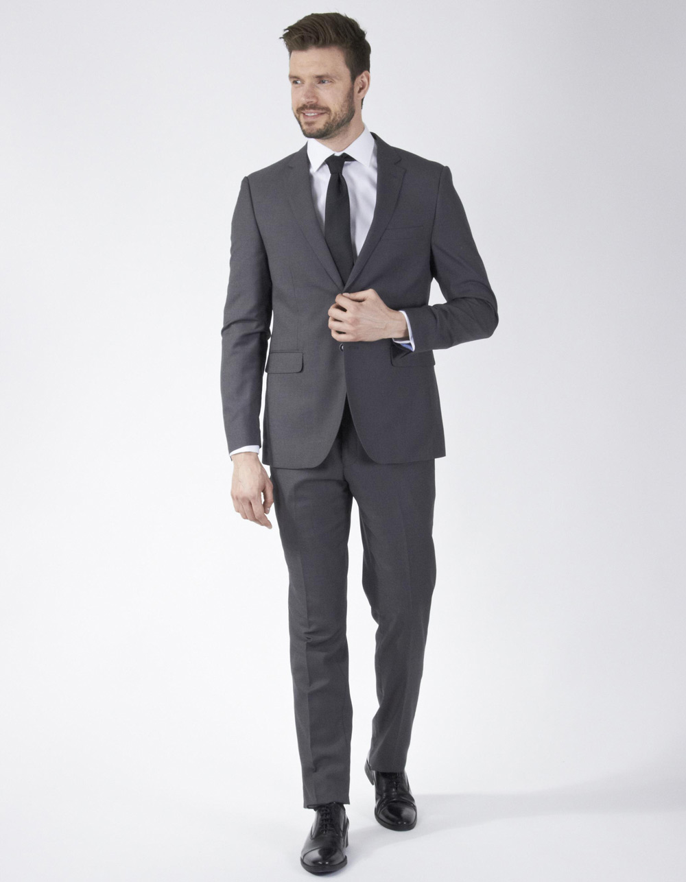 Charcoal grey plain suit