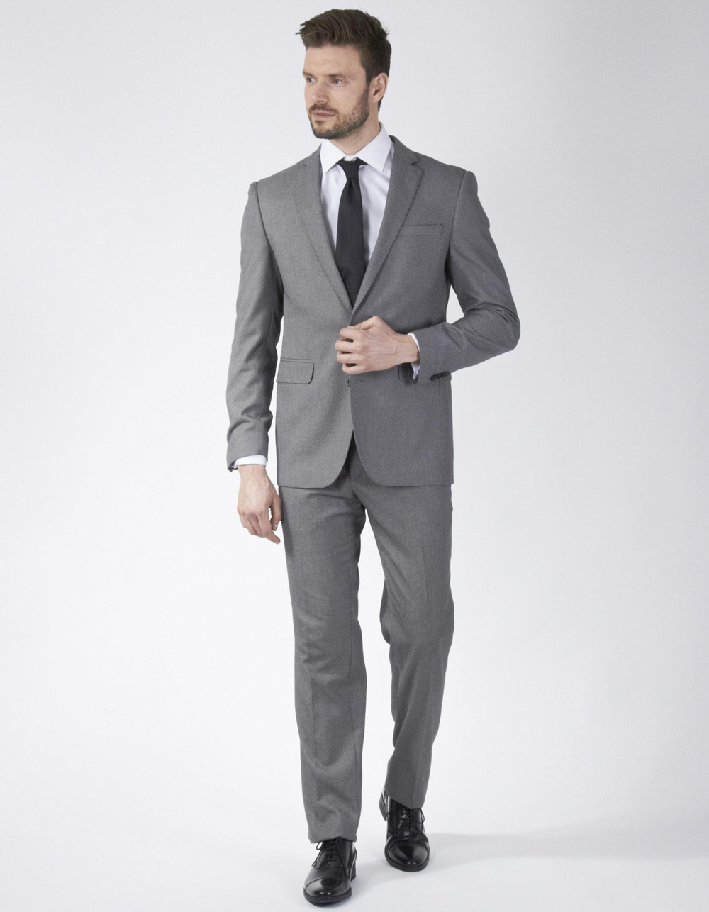 Grey fabric tweed suit