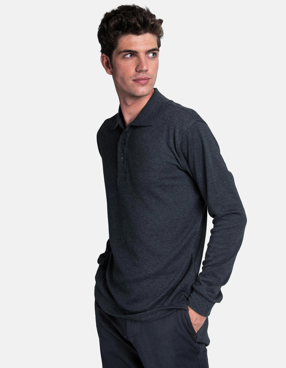 Charcoal washed polo shirt