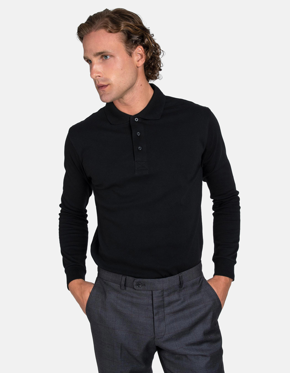 Black washed polo shirt