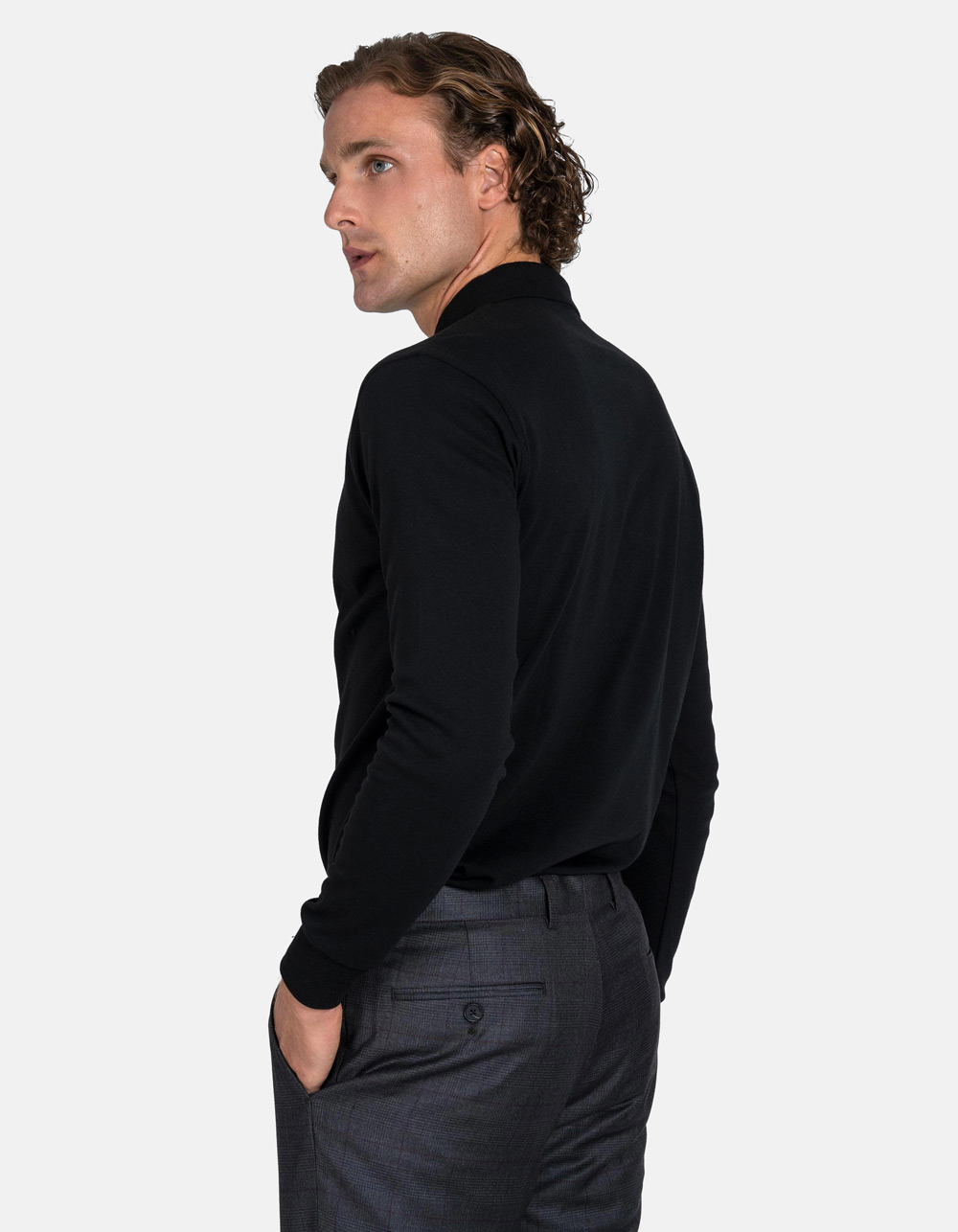 Black washed polo shirt - Backside