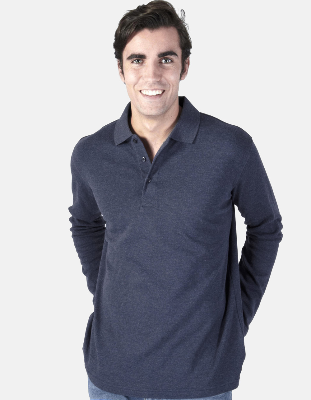 Navy blue washed polo shirt