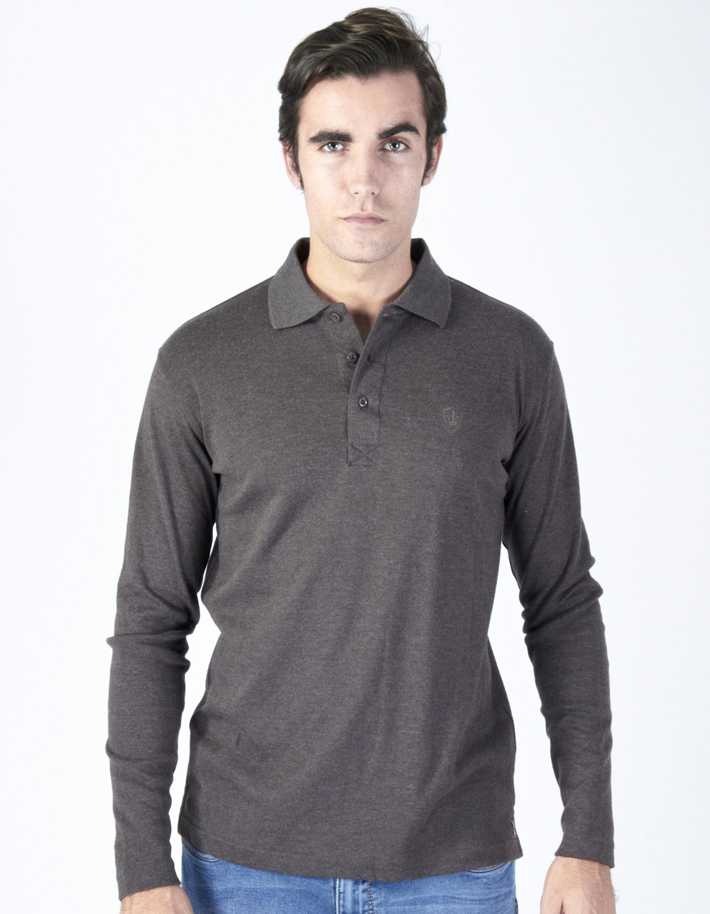 Brown washed polo shirt