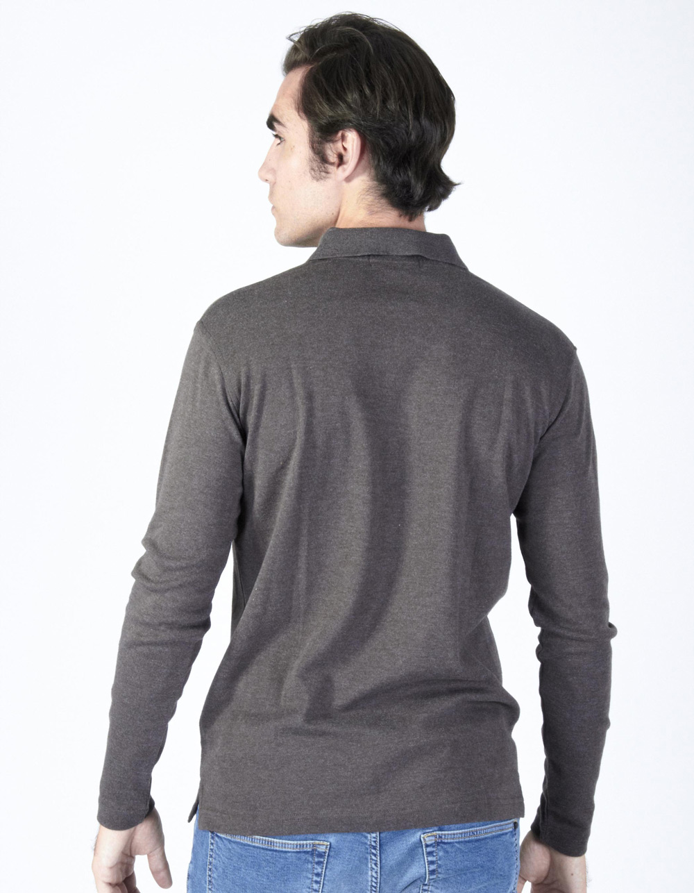 Brown washed polo shirt - Backside