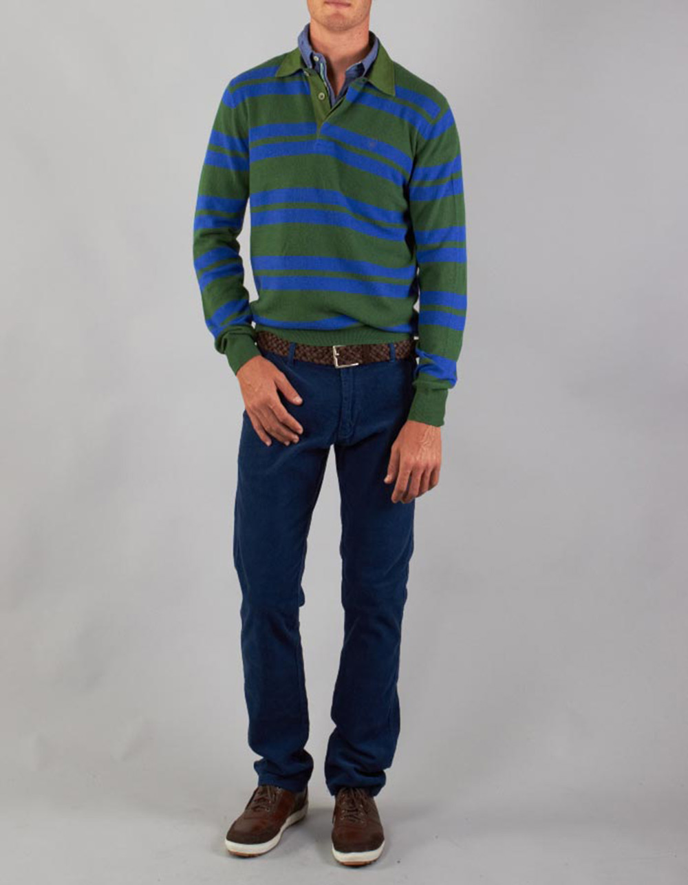 Striped long sleeve polo