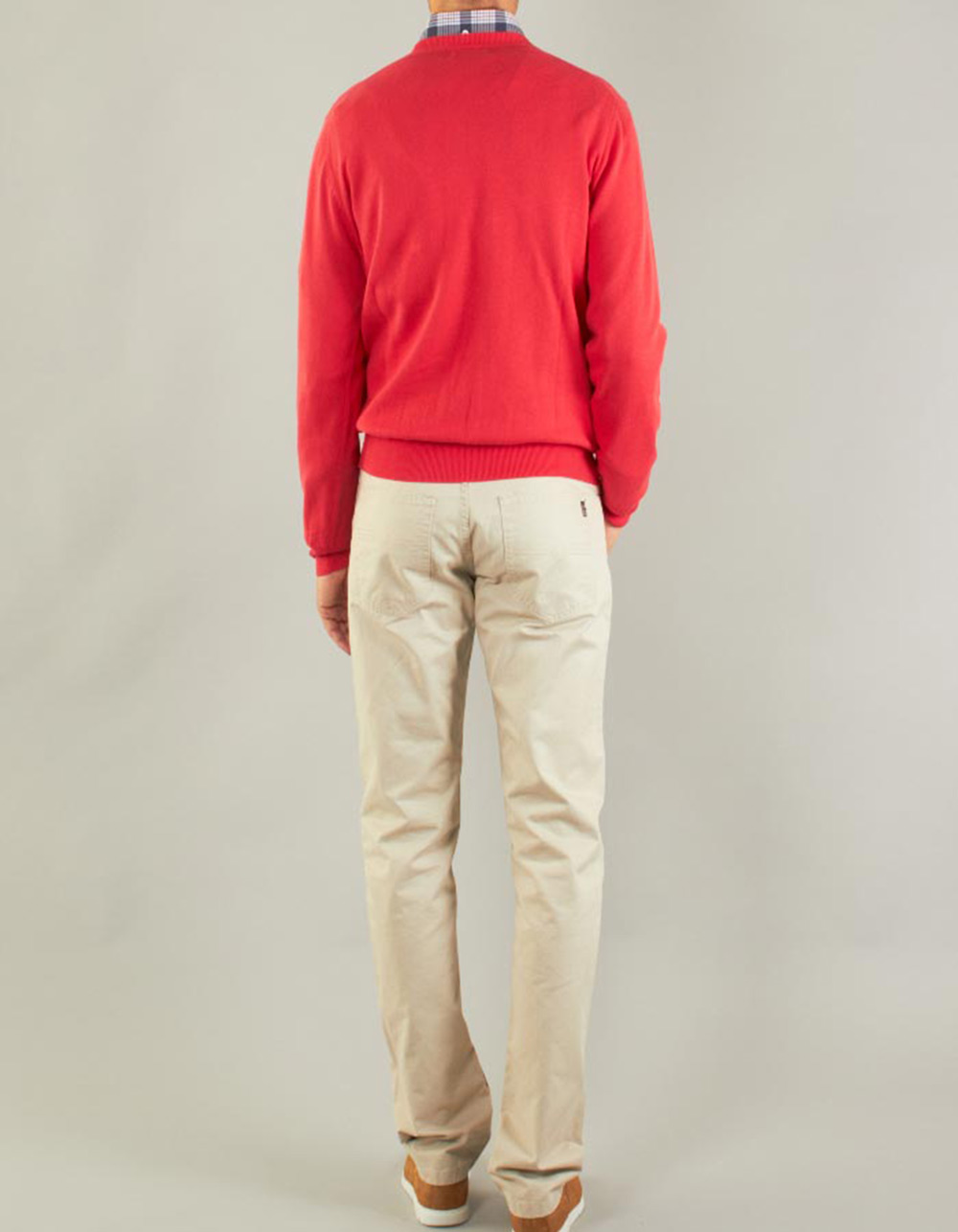 Plain V-neck Sweater - Backside