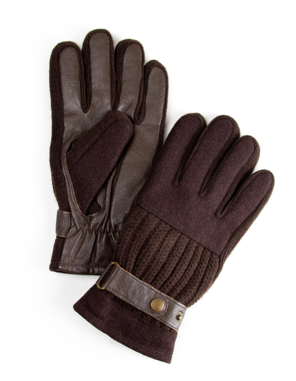 Brown gloves three textures