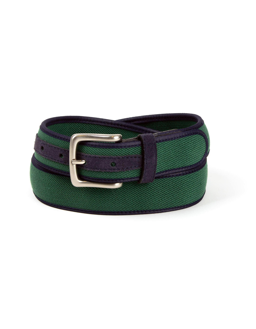 Belt combined with brown suede and green fabric