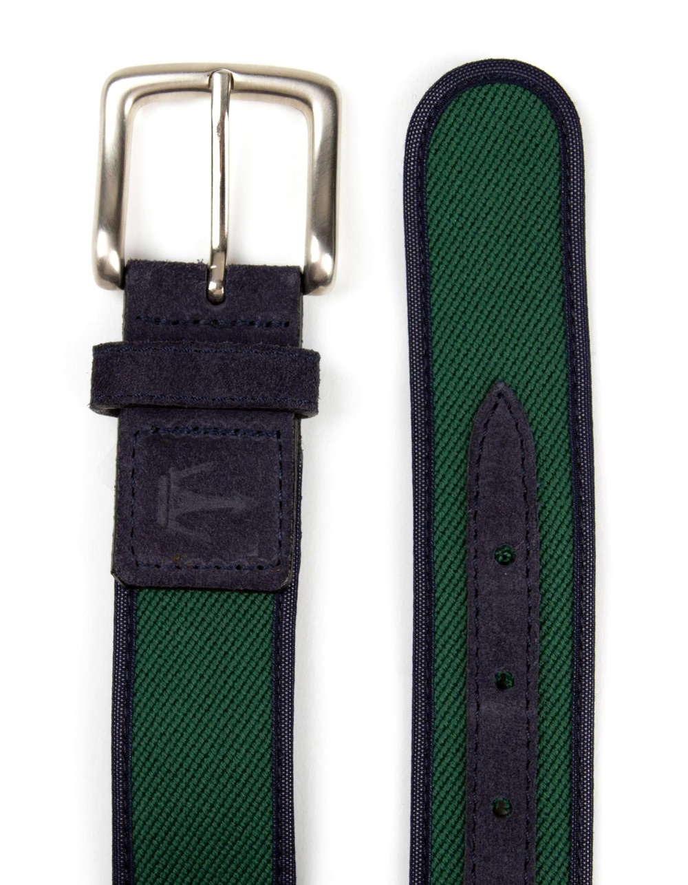 Belt combined with brown suede and green fabric  - Backside