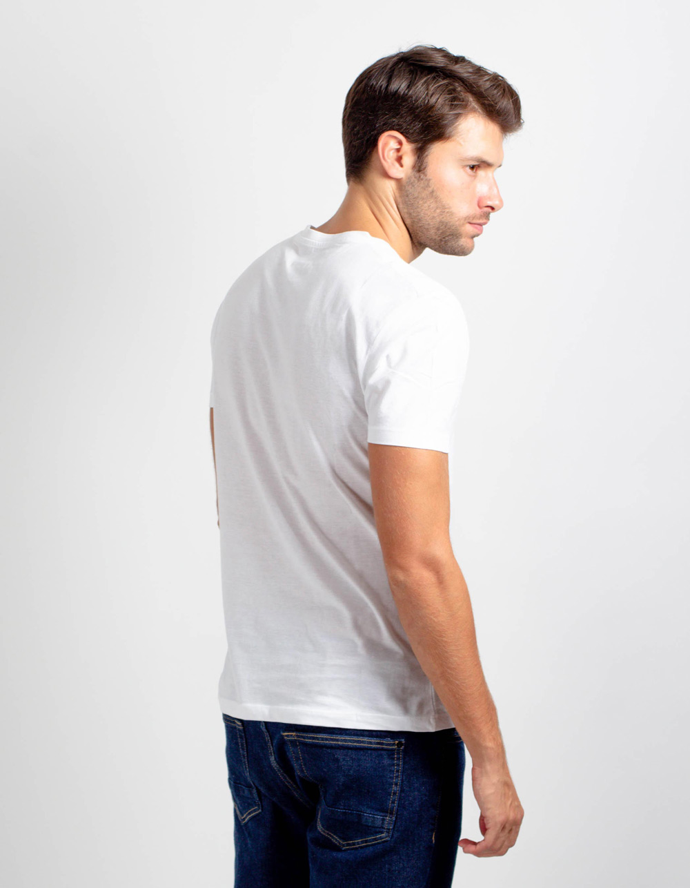 White short sleeve plain t-shirt - Backside