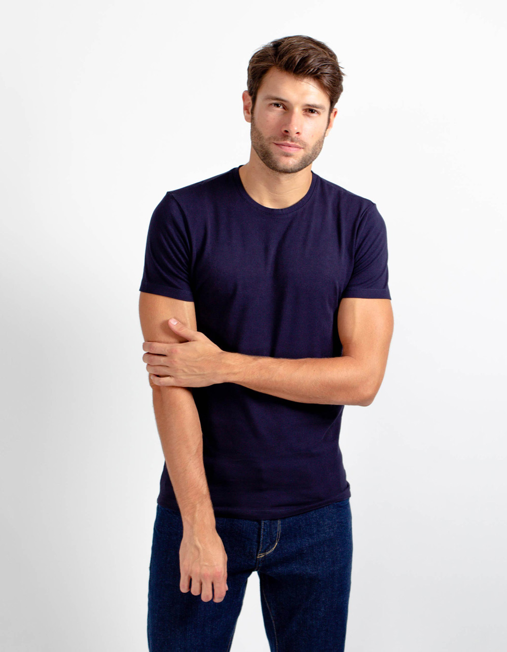 Navy blue short sleeve plain t-shirt