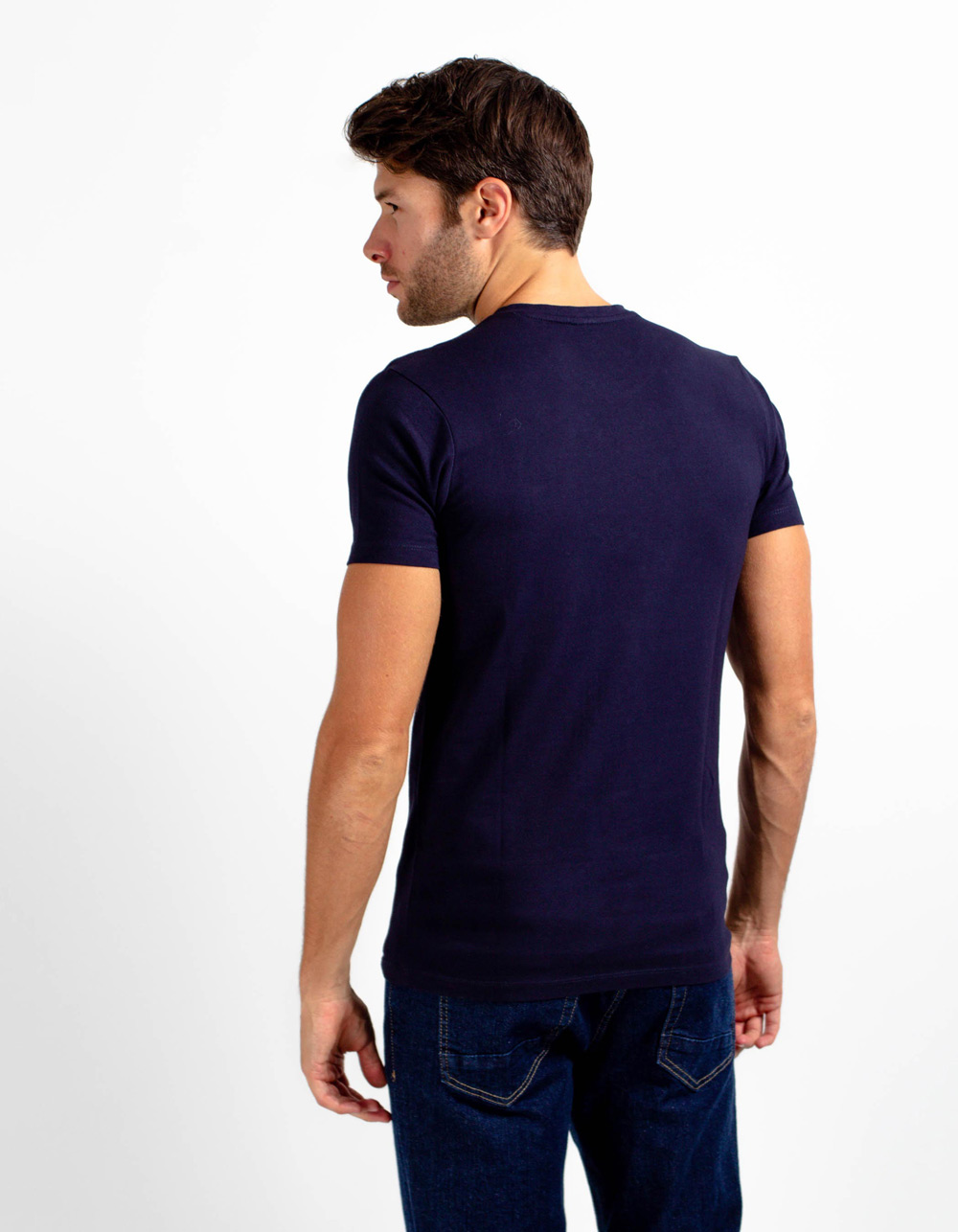 Navy blue short sleeve plain t-shirt - Backside