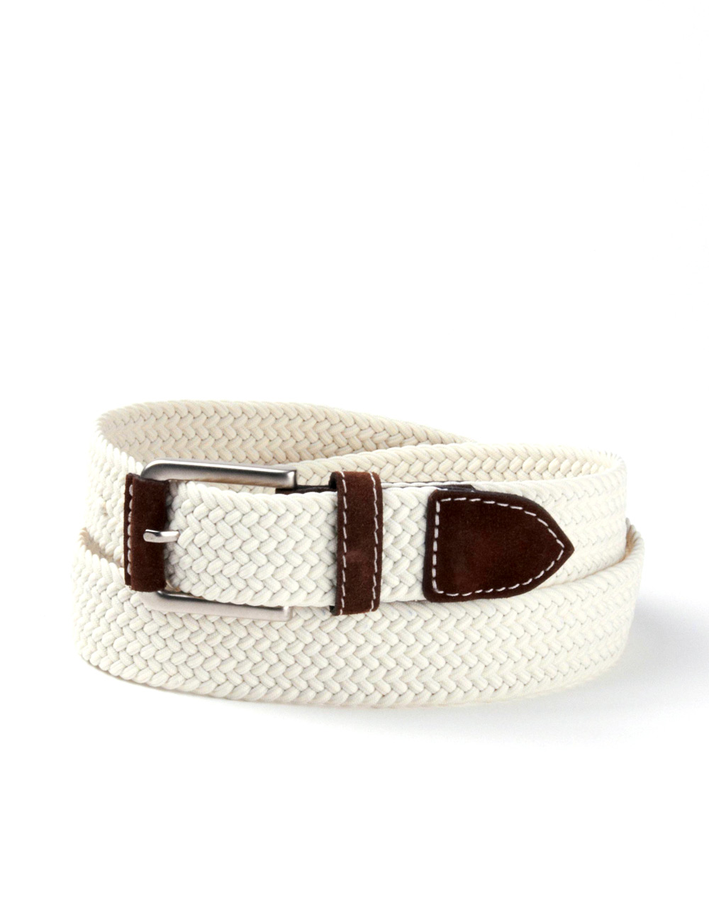 White plaited belt