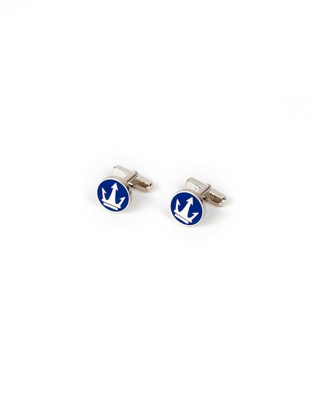 Blue and white round metallic cufflinks