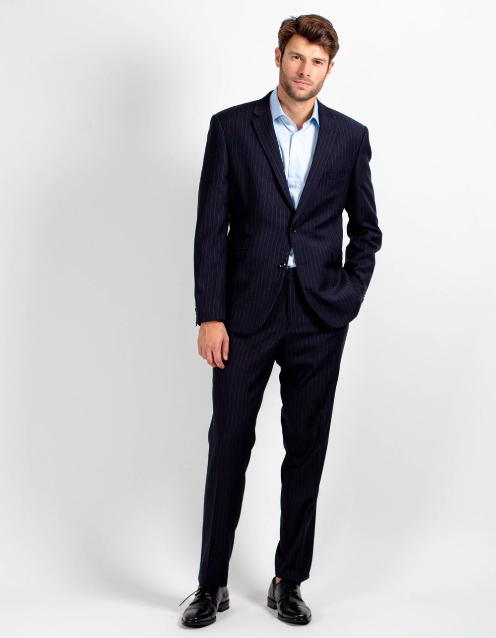 Dark blue pinstripe suit