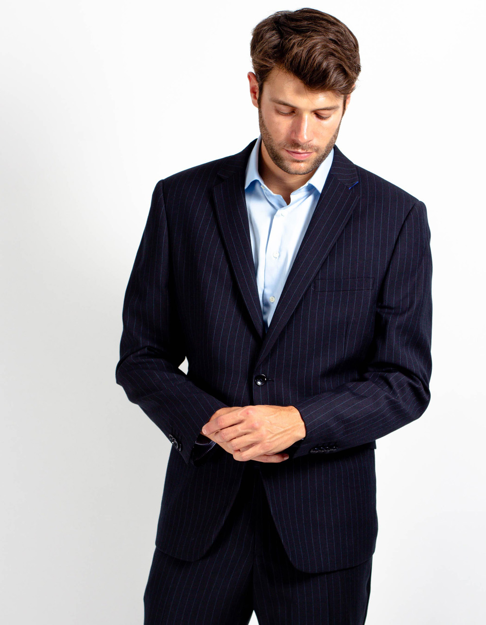 Dark blue pinstripe suit - Backside