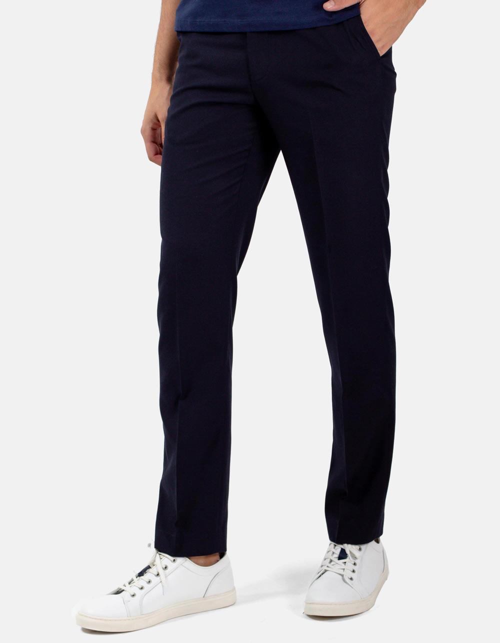 Navy blue plain trousers