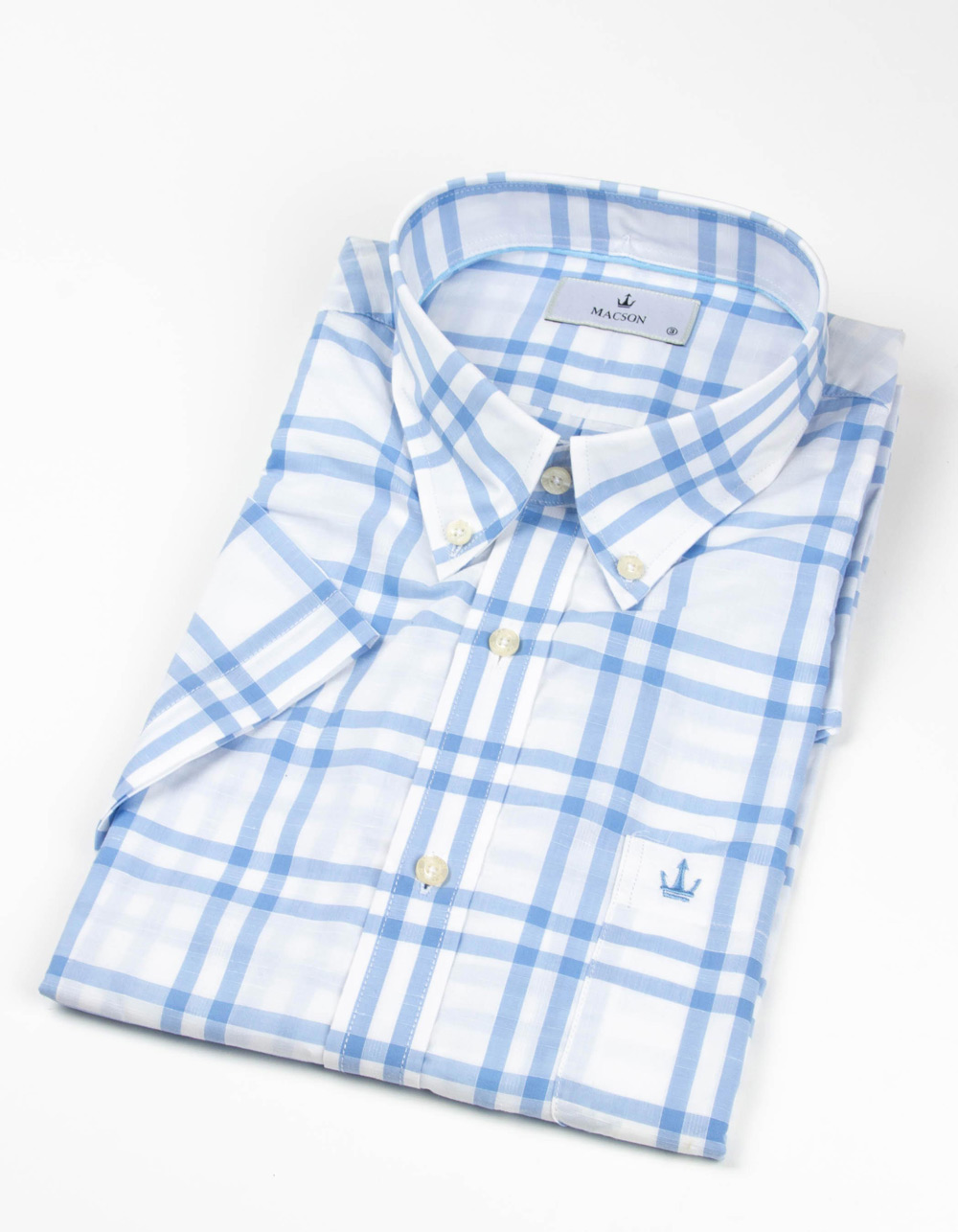 Blue large check shirt