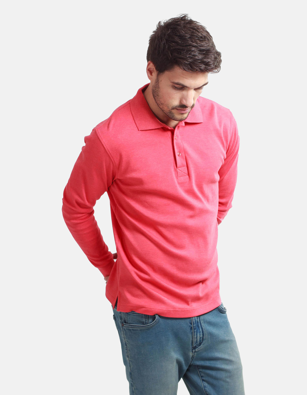 Coral washed polo shirt
