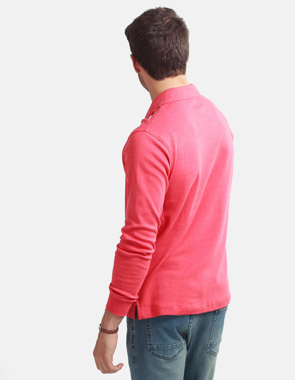 Coral washed polo shirt - Backside
