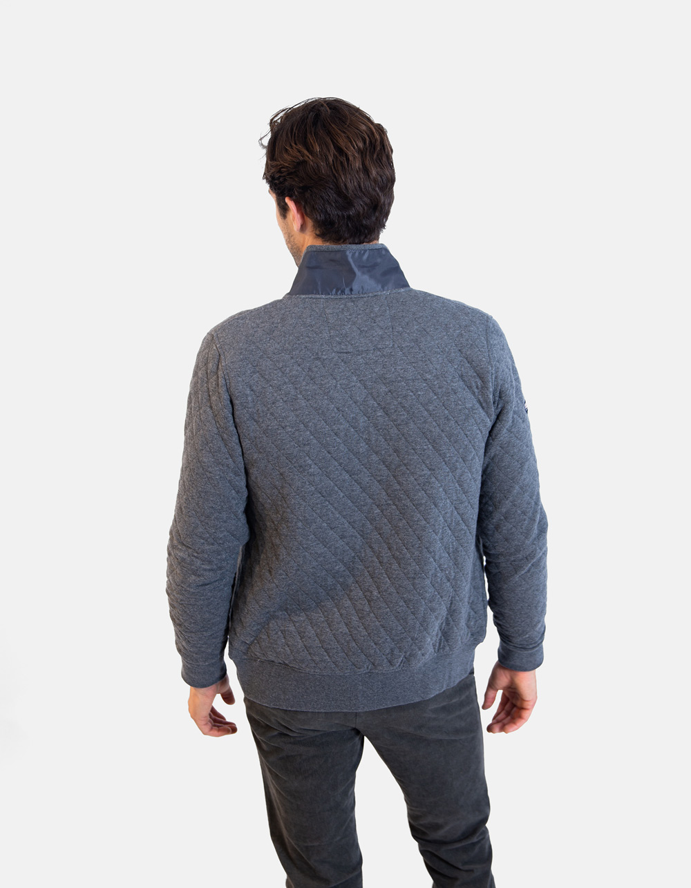 Grey knitwear zip jacket - Backside