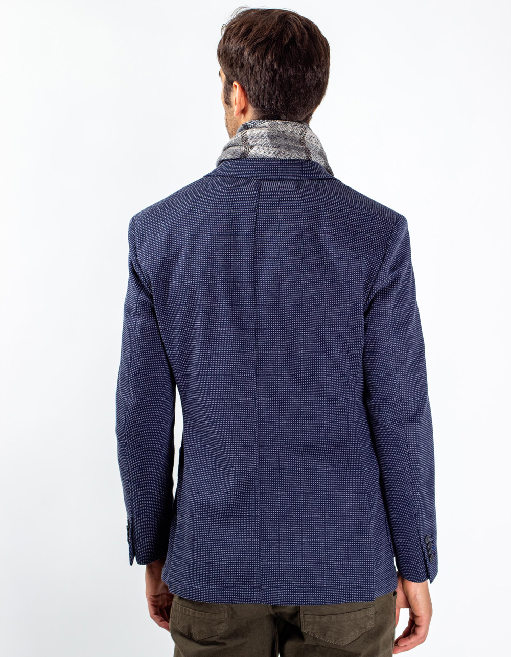 Blue micro-pattern blazer - Backside