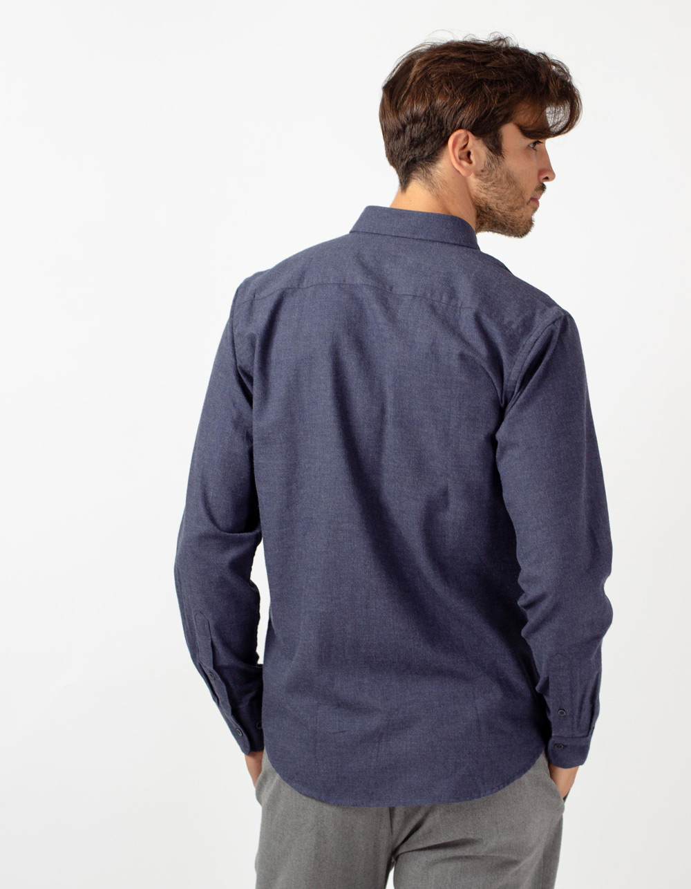 Blue herringbone shirt - Backside
