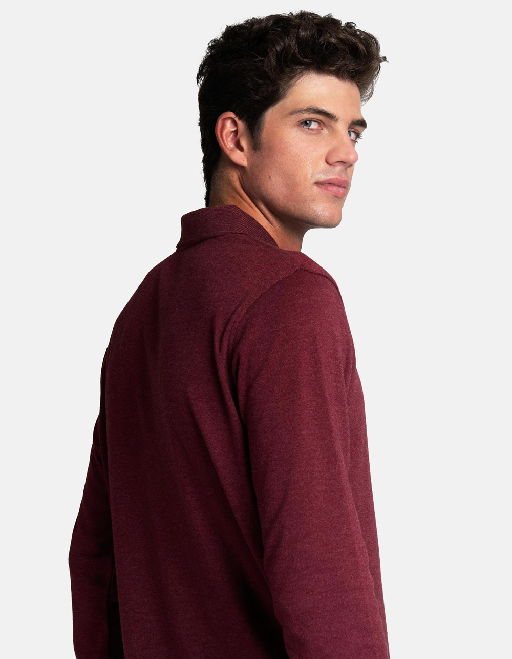 Maroon washed polo shirt - Backside