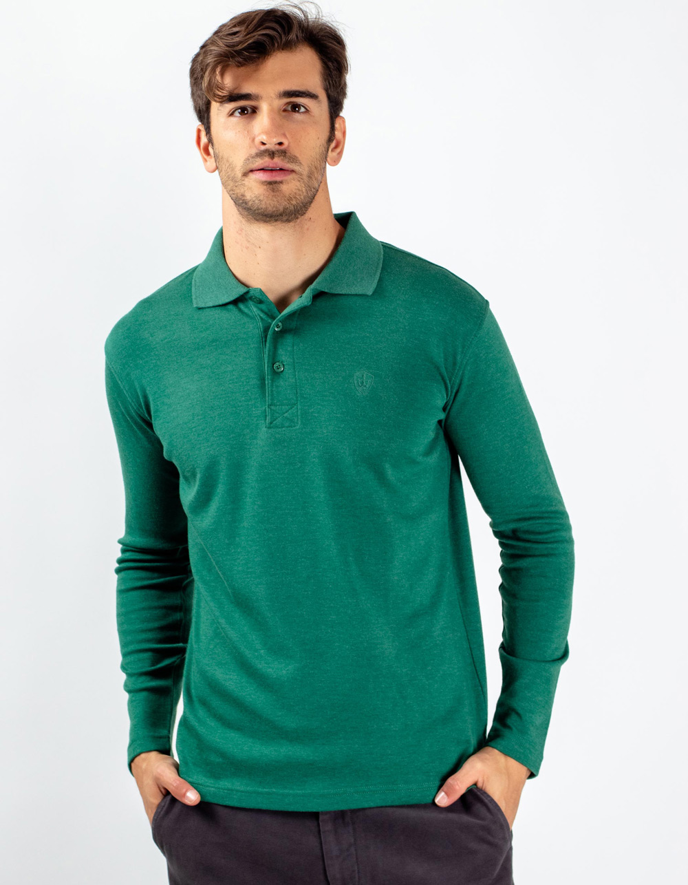 Green washed polo shirt