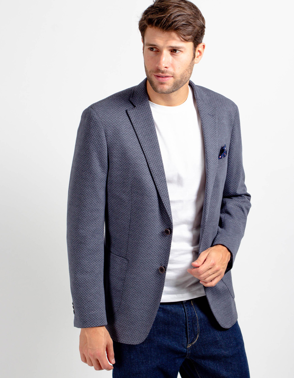Grey pattern blazer