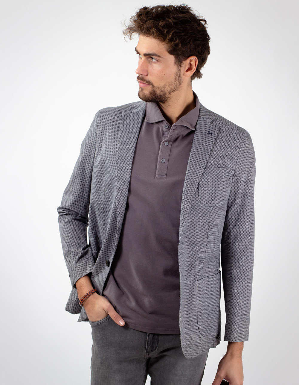 Pattern blazer with elbow patches