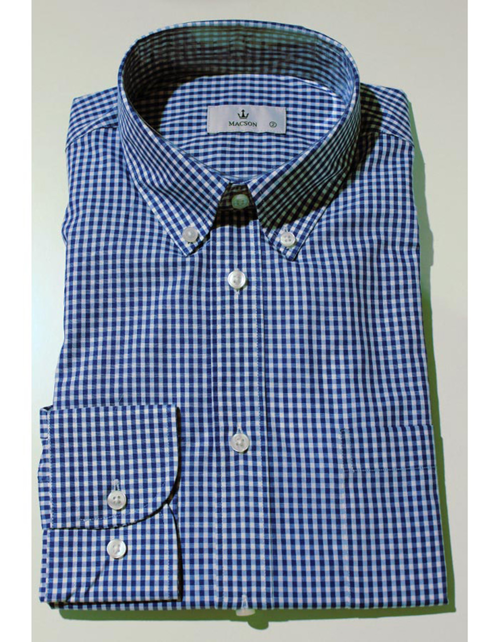 Navy blue checked cotton shirt